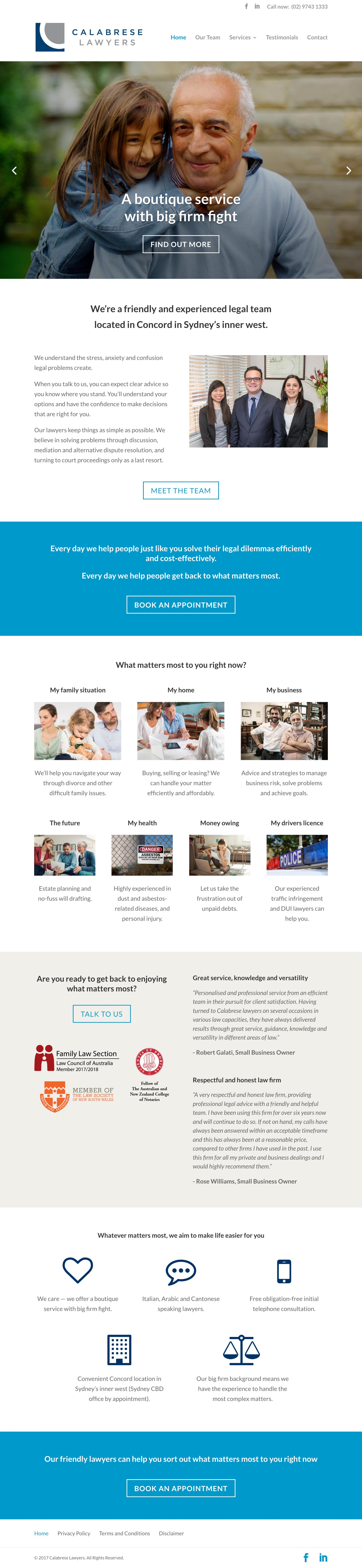 Web Design - Calabrese Lawyers