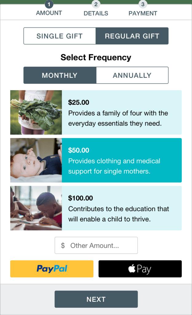 Donation Widget Design