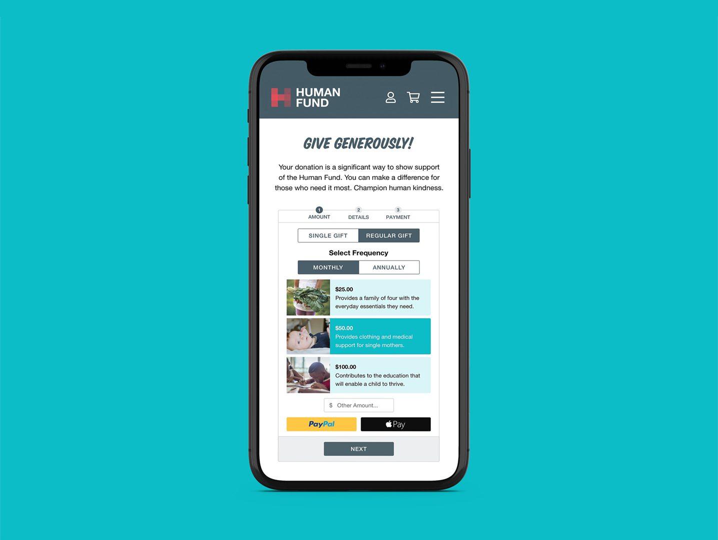 Donation Widget Design - Clarety Solutions